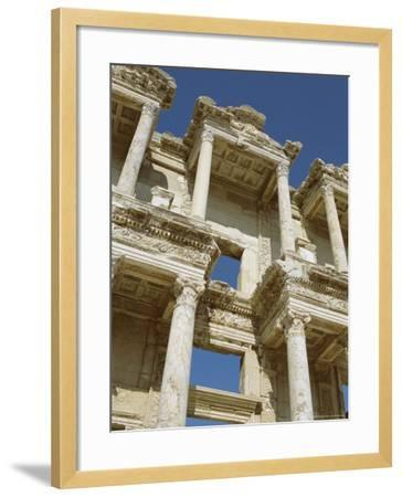 Reconstructed Facade of the Library of Celsus, Archaeological Site, Ephesus, Turkey, Anatolia-Robert Harding-Framed Photographic Print