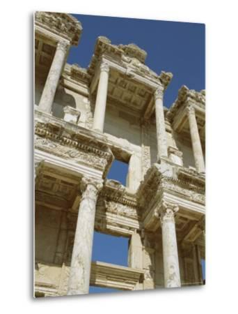 Reconstructed Facade of the Library of Celsus, Archaeological Site, Ephesus, Turkey, Anatolia-Robert Harding-Metal Print