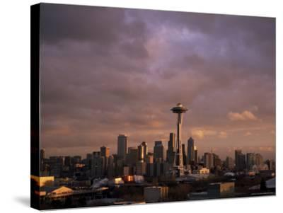 City Skyline, Seattle, Washington State, United States of America (U.S.A.), North America-Aaron McCoy-Stretched Canvas Print