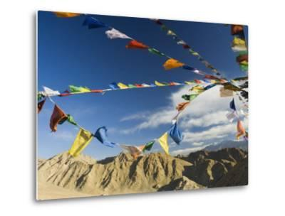 Prayer Flags on the Peak of Victory, Leh, Ladakh, Indian Himalayas, India, Asia-Jochen Schlenker-Metal Print