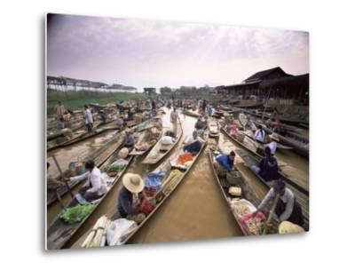 Floating Market, Inle Lake, Shan State, Myanmar (Burma), Asia-Colin Brynn-Metal Print