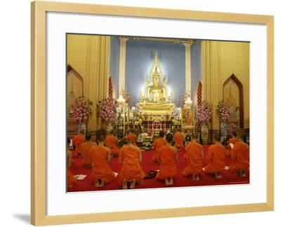 Buddhist Monks Praying, Wat Benchamabophit (Marble Temple), Bangkok, Thailand, Southeast Asia, Asia-Angelo Cavalli-Framed Photographic Print