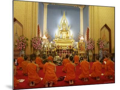 Buddhist Monks Praying, Wat Benchamabophit (Marble Temple), Bangkok, Thailand, Southeast Asia, Asia-Angelo Cavalli-Mounted Photographic Print
