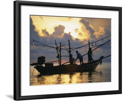 Fishing Boat at Sunrise at Haad Rin Beach, Koh Pha Ngan, Thailand-Robert Francis-Framed Photographic Print