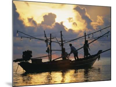 Fishing Boat at Sunrise at Haad Rin Beach, Koh Pha Ngan, Thailand-Robert Francis-Mounted Photographic Print