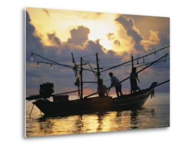 Fishing Boat at Sunrise at Haad Rin Beach, Koh Pha Ngan, Thailand-Robert Francis-Metal Print