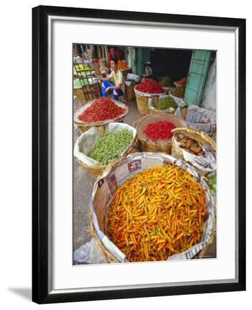 Chilies and Other Vegetables, Chinatown Market, Bangkok, Thailand, Asia-Robert Francis-Framed Photographic Print