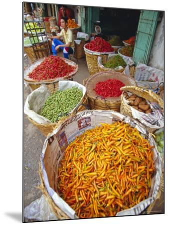 Chilies and Other Vegetables, Chinatown Market, Bangkok, Thailand, Asia-Robert Francis-Mounted Photographic Print