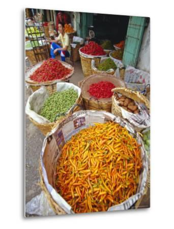 Chilies and Other Vegetables, Chinatown Market, Bangkok, Thailand, Asia-Robert Francis-Metal Print