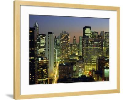 Looking South Down Rush and Wabash Streets in the Near North of Downtown Chicago, Illinois, USA-Robert Francis-Framed Photographic Print