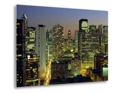 Looking South Down Rush and Wabash Streets in the Near North of Downtown Chicago, Illinois, USA-Robert Francis-Metal Print
