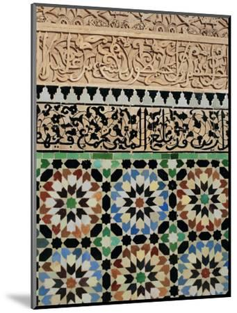 Tile and Stucco Decoration, Ali Ben Youssef Medersa, Marrakech (Marrakesh), Morocco, Africa-Bruno Morandi-Mounted Photographic Print