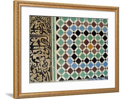 Tile Detail, Attarine Medressa, Fez, Morocco, North Africa-Bruno Morandi-Framed Photographic Print