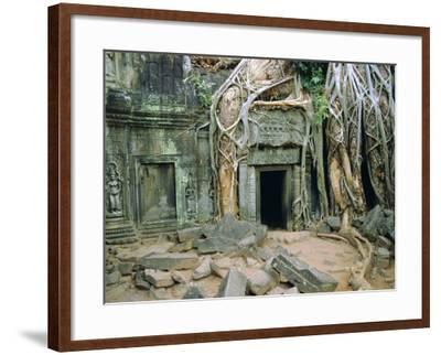 Tree Roots Overgrowng Temple, Ta Prohm, Angkor, Cambodia, Asia-Bruno Morandi-Framed Photographic Print