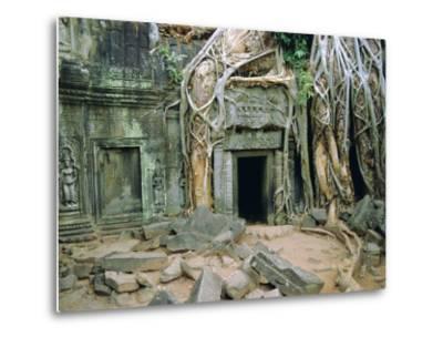 Tree Roots Overgrowng Temple, Ta Prohm, Angkor, Cambodia, Asia-Bruno Morandi-Metal Print
