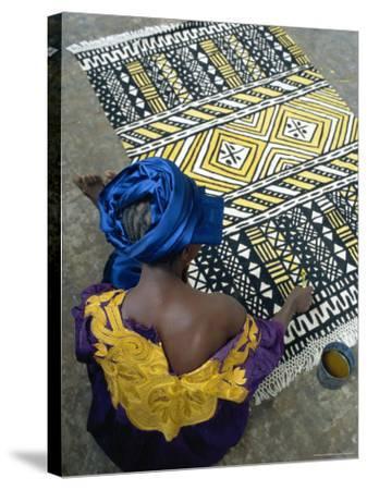 Cotton Rug Making, Craft Workshop of Bogolan, Segou, Mali-Bruno Morandi-Stretched Canvas Print