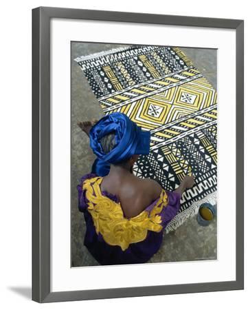 Cotton Rug Making, Craft Workshop of Bogolan, Segou, Mali-Bruno Morandi-Framed Photographic Print