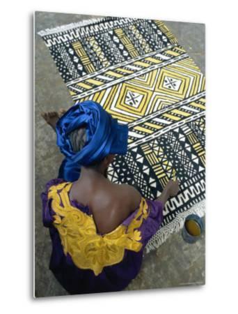 Cotton Rug Making, Craft Workshop of Bogolan, Segou, Mali-Bruno Morandi-Metal Print