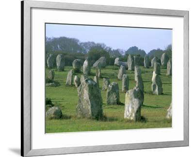 Alignments of Megalithic Standing Stones, Carnac, Morbihan, Brittany, France, Europe-J P De Manne-Framed Photographic Print
