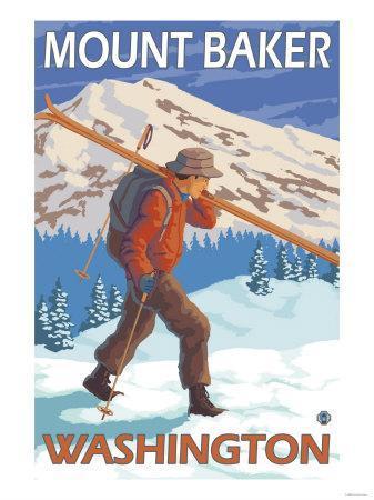 Skier Carrying Snow Skis, Mount Baker, Washington-Lantern Press-Framed Art Print