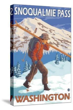 Skier Carrying Snow Skis, Snoqualmie Pass, Washington-Lantern Press-Stretched Canvas Print