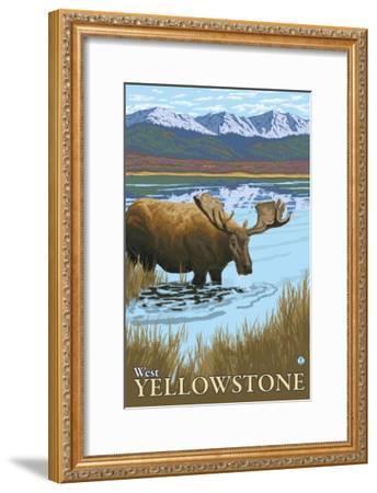 Moose Drinking at Lake, West Yellowstone, Montana-Lantern Press-Framed Art Print
