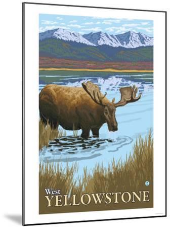 Moose Drinking at Lake, West Yellowstone, Montana-Lantern Press-Mounted Art Print