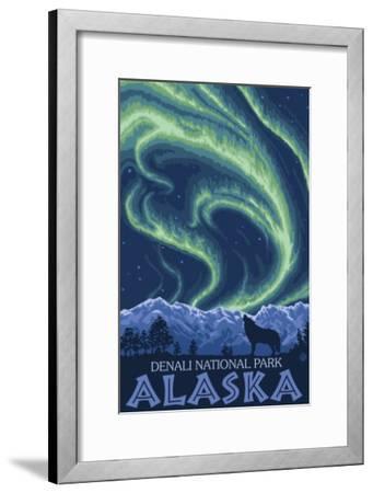 Northern Lights, Denali National Park, Alaska-Lantern Press-Framed Art Print