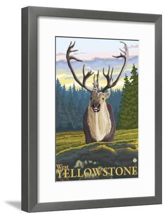 Caribou in the Wild, West Yellowstone, Montana-Lantern Press-Framed Art Print