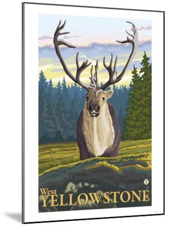 Caribou in the Wild, West Yellowstone, Montana-Lantern Press-Mounted Art Print