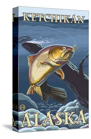 Trout Fishing Cross-Section, Ketchikan, Alaska-Lantern Press-Stretched Canvas Print