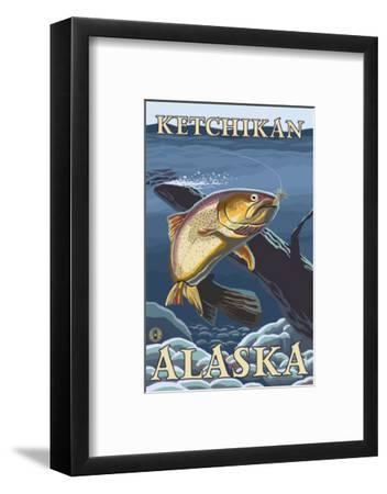 Trout Fishing Cross-Section, Ketchikan, Alaska-Lantern Press-Framed Art Print