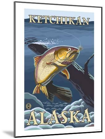 Trout Fishing Cross-Section, Ketchikan, Alaska-Lantern Press-Mounted Art Print