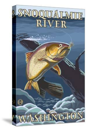 Trout Fishing Cross-Section, Snoqualmie River, Washington-Lantern Press-Stretched Canvas Print