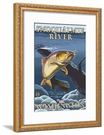Trout Fishing Cross-Section, Snoqualmie River, Washington-Lantern Press-Framed Art Print