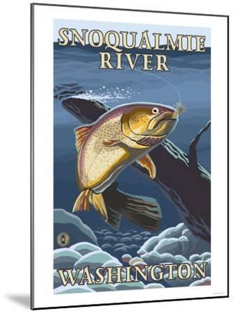 Trout Fishing Cross-Section, Snoqualmie River, Washington-Lantern Press-Mounted Art Print