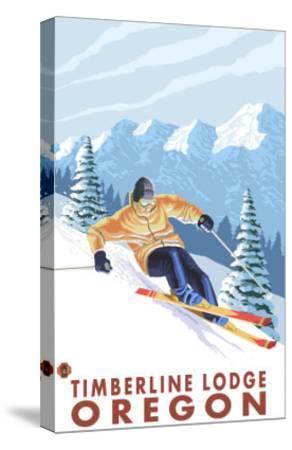 Downhhill Snow Skier, Timberline Lodge, Oregon-Lantern Press-Stretched Canvas Print
