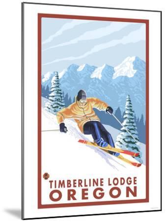 Downhhill Snow Skier, Timberline Lodge, Oregon-Lantern Press-Mounted Art Print