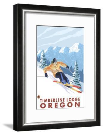 Downhhill Snow Skier, Timberline Lodge, Oregon-Lantern Press-Framed Art Print