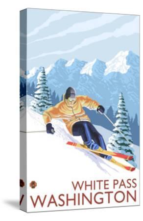 Downhhill Snow Skier, White Pass, Washington-Lantern Press-Stretched Canvas Print