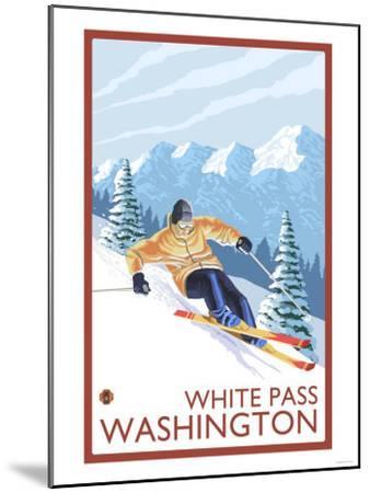 Downhhill Snow Skier, White Pass, Washington-Lantern Press-Mounted Art Print