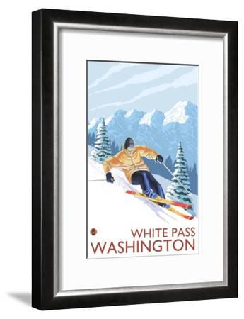 Downhhill Snow Skier, White Pass, Washington-Lantern Press-Framed Art Print