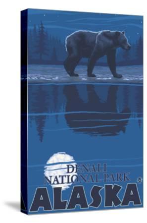 Bear in Moonlight, Denali National Park, Alaska-Lantern Press-Stretched Canvas Print