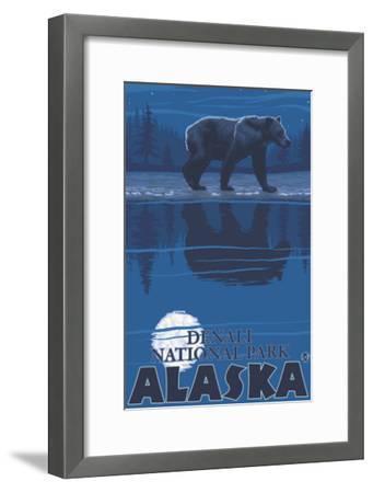 Bear in Moonlight, Denali National Park, Alaska-Lantern Press-Framed Art Print