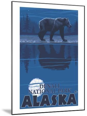 Bear in Moonlight, Denali National Park, Alaska-Lantern Press-Mounted Art Print