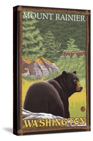 Black Bear in Forest, Mount Rainier, Washington-Lantern Press-Stretched Canvas Print