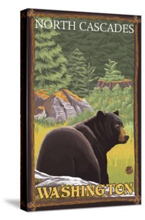Black Bear in Forest, North Cascades, Washington-Lantern Press-Stretched Canvas Print