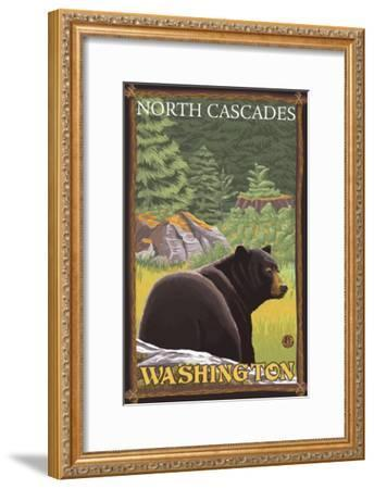 Black Bear in Forest, North Cascades, Washington-Lantern Press-Framed Art Print