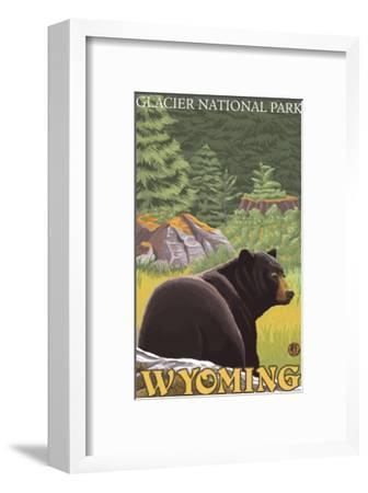 Black Bear in Forest, Yellowstone National Park-Lantern Press-Framed Art Print