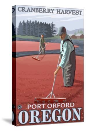 Cranberry Bogs Harvest, Port Orford, Oregon-Lantern Press-Stretched Canvas Print